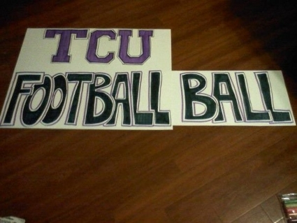 TCU Footballball - 1310 The Ticket Signs at ESPN GameDay TCU